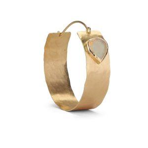 Flat Opal Hoop, 18 karat guld