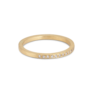 Small alliance ring, semi filled, 18 karat guld, 0,005 ct diamanter