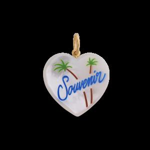 Souvenir Heart med enamel, vedhæng, forgyldt sterling sølv