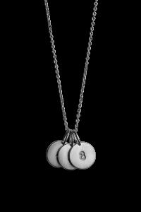 Kombination af Anchor Chain og 3 medium Lovetags, rhodineret sterlingsølv