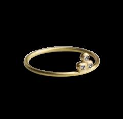 Diamond Temple Ring, forgyldt sterlingsølv