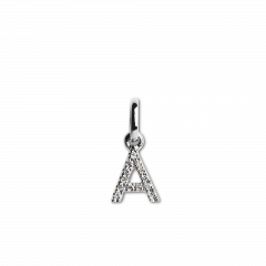 "Letter Pendant with Diamonds ""A"", 18 carat white gold"
