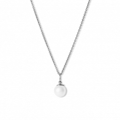 Combination of an Anchor Chain and Big Pearl Pendant, rhodinated sterling silver