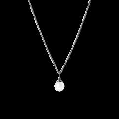 Kombination af Anchor Chain og Small Pearl Pendant, rhodineret sterlingsølv