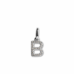 "Letter Pendant ""B"" with Diamonds, 18 karat hvidguld"