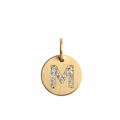 "Lovetag Pendant ""M"" with Diamonds, 18 karat guld"