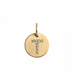 "Lovetag Pendant ""T"" with Diamonds, 18 karat guld"