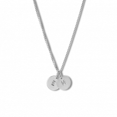 Kombination af Curb Chain og 2 Lovetags, sterling sølv