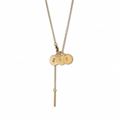 Combination of a Faceted Anchor Chain and 3 medium Lovetag, gold-plated sterling silver