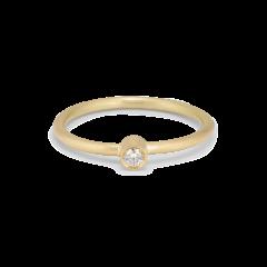 Princess ring, 18 karat guld, 0.03 ct diamant, rørfatning