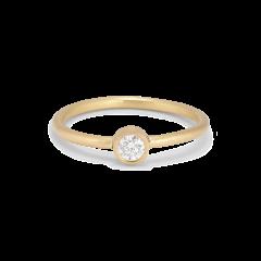 Princess ring, 18 karat guld, 0.10 ct diamant, rørfatning