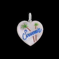 Souvenir Heart with enamel, perlemor vedhæng, sterling sølv